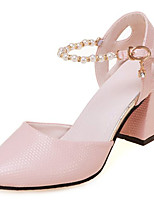 cheap -Women's Shoes PU Spring Fall Comfort Heels Chunky Heel for Outdoor White Pink