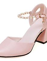 preiswerte -Damen Schuhe PU Frühling Herbst Komfort High Heels Blockabsatz für Draussen Weiß Rosa