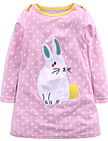 cheap -Girl's Daily Holiday Polka Dot Dress,Cotton All Seasons Long Sleeves Cute Casual Blushing Pink