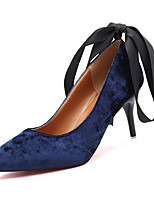 cheap -Women's Shoes PU Spring Fall Comfort Heels Stiletto Heel Pointed Toe for Casual Pink Blue Black