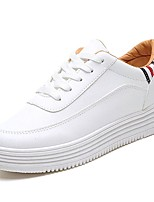 cheap -Women's Shoes PU Winter Fall Comfort Sneakers Flat Heel Round Toe for Casual Outdoor Brown White