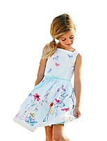 cheap -Girl's Christmas Birthday Going out Floral Galaxy Jacquard Dress,Cotton Acrylic All Seasons Sleeveless Vintage Cute Princess White