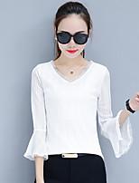 preiswerte -Damen Solide Retro Alltag T-shirt,V-Ausschnitt Herbst Langärmelige Baumwolle