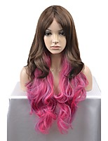 cheap -New fashion wig long brown powder mixed natural curvature high temperature silk wig