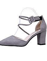 cheap -Women's Shoes Cashmere Spring Comfort Heels Chunky Heel Pointed Toe for Casual Black Gray