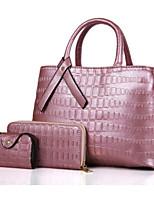 cheap -Women Bags PU Bag Set 3 Pcs Purse Set Zipper for Casual Outdoor Spring Fall Gray Blushing Pink Red Black Blue