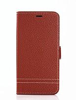 Недорогие -Кейс для Назначение Apple iPhone X iPhone 8 Кошелек Бумажник для карт со стендом Флип Чехол Сплошной цвет Твердый Искусственная кожа для