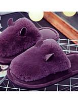 Недорогие -Девочки обувь Флис Зима Осень Удобная обувь Тапочки и Шлепанцы для Повседневные Черный Серый Лиловый Розовый Винный