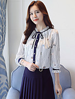 cheap -Women's Going out Sophisticated Spring Blouse,Print Stand Long Sleeve Polyester Medium