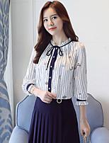 economico -Blusa Da donna Per uscire sofisticato Primavera,Con stampe Colletto alla coreana Poliestere Maniche lunghe Medio spessore
