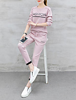 cheap -Women's Casual/Daily Simple Winter Set Pant Suits,Solid Round Neck Long Sleeves Polyester