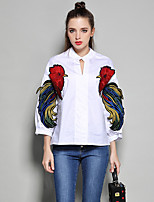 cheap -Women's Casual/Daily Street chic Shirt,Embroidery Stand ¾ Sleeve Cotton