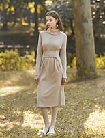 economico -Per donna Quotidiano Per uscire Vintage Casual Tubino Medio Vestito,A collo alto Tinta unita Manica lunga Vita alta