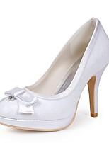 Недорогие -Для женщин Обувь Кружева Шёлк Весна Лето Туфли лодочки Свадебная обувь На шпильке Закрытый мыс Стразы Бант для Свадьба Для вечеринки /