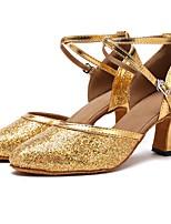 cheap -Modern Paillette Sandal Heel Bows Customized Heel Gold Customizable