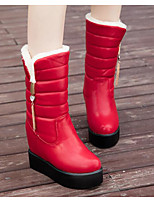 cheap -Women's Shoes PU Winter Fall Comfort Snow Boots Boots Wedge Heel Mid-Calf Boots for Casual Red Black