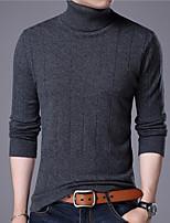 Недорогие -Для мужчин Повседневные На каждый день Обычный Пуловер Однотонный,Хомут Длинный рукав Полиэстер Все сезоны Тонкая Эластичная