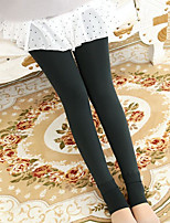 Недорогие -Жен. Однотонный Толстая Один цвет Леггинсы Нейлон,Черный