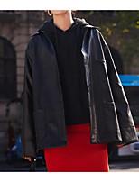 Недорогие -Для женщин На выход Зима Осень Кожаные куртки Рубашечный воротник,Уличный стиль Однотонный Обычная Длинные рукава,Полиэстер