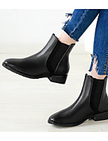 cheap -Women's Shoes Synthetic Microfiber PU Spring Fall Comfort Bootie Boots Chunky Heel for Casual Black