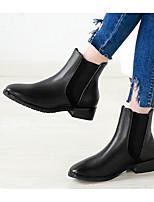preiswerte -Damen Schuhe Künstliche Mikrofaser Polyurethan Frühling Herbst Komfort Stiefeletten Stiefel Blockabsatz für Normal Schwarz
