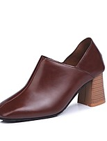 cheap -Women's Shoes PU Spring Fall Comfort Heels Chunky Heel Round Toe for Casual Brown Black