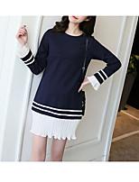 preiswerte -Damen Solide Niedlich Aktiv Freizeitskleidung T-shirt,Rundhalsausschnitt Langarm Baumwolle