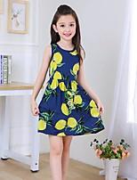 cheap -Girl's Print Dress,Cotton Summer Sleeveless Boho Blue