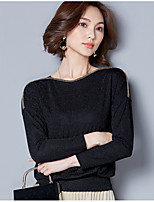 cheap -Women's Daily Sophisticated All Seasons T-shirt,Solid Round Neck Long Sleeve Polyester