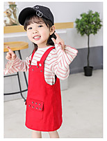 cheap -Girl's Daily Going out Solid Metal Finish Dress,Cotton Spring Fall Sleeveless Simple Casual Street chic Red White