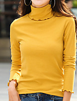 cheap -Women's Daily Casual Fall T-shirt,Solid Turtleneck Long Sleeve Cotton