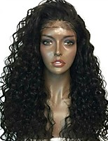 cheap -Human Hair Indian Lace Wig Jerry Curl Curly Kinky Curly With Baby Hair Glueless Lace Front Unprocessed 100% Virgin Middle Part Natural