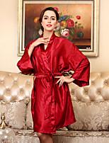 abordables -Satin & Soie Ultra Sexy Pyjamas Femme,Couleur Pleine Opaque Fin Polyester Marine Gris Violet Jaune Fuchsia