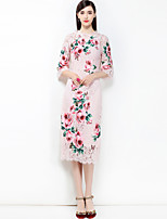 cheap -MARY YAN&YU Women's Party Going out Cute Boho Street chic A Line Midi Dress,Floral Print Round Neck Half Sleeve Spring Summer