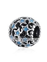 cheap -DIY Jewelry 1 Beads Blue Star Ball Silver Bead 1 cm DIY Bracelet Necklace