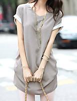 Недорогие -Для женщин Повседневные Лето Блуза Круглый вырез,На каждый день Однотонный Короткие рукава,Полиэстер
