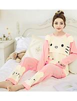 cheap -Women's Suits Pajamas,Animal Print Polyester Blushing Pink