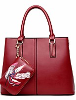cheap -Women Bags PU Tote 2 Pieces Purse Set Zipper for Casual Winter Red Black Gold Blue