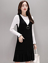cheap -Women's Going out Simple Cross-Seasons Blouse Dress Suits,Solid Round Neck Long Sleeves Cotton Polyester