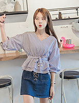 cheap -Women's Casual/Daily Cute Shirt,Striped V Neck 3/4 Length Sleeve Cotton