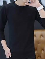 Недорогие -Для мужчин На выход Уличный стиль Обычный Пуловер Однотонный,Круглый вырез Длинный рукав Полиэстер Зима Осень Толстая Слабоэластичная