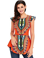 cheap -Women's Holiday Sophisticated All Seasons Blouse,Floral Round Neck Sleeveless Polyester Medium