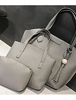 cheap -Women Bags PU Bag Set 3 Pcs Purse Set Zipper for Casual Outdoor Winter Fall Brown Light Gray Military Green Dark Gray Blushing Pink