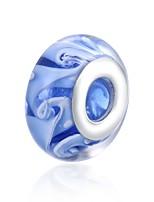 Недорогие -Ювелирные изделия DIY 1 штук Бусины Светло-синий Шарообразные Стекло Серебристый Шарик 1.4 см DIY Браслеты Ожерелье