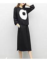 Недорогие -Для женщин Повседневные Осень Рубашка Брюки Костюмы Вырез под горло,На каждый день С принтом Длинные рукава,Полиэстер