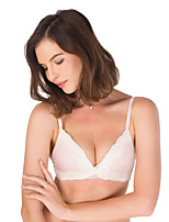 cheap -Women's Normal Solid Color Block 3/4 Cup Bras & Panties Sets Wireless Lace Bras,Nylon Blushing Pink Gray