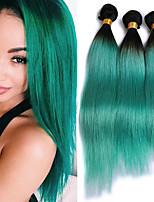 economico -3 pezzi Verde Dritto Brasiliano Tessiture capelli umani Extensions per capelli 0.3kg