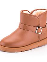 preiswerte -Damen Schuhe PU Winter Herbst Komfort Schneestiefel Stiefel Flacher Absatz Booties / Stiefeletten für Normal Schwarz Blau Kamel Burgund