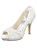 preiswerte -Damen Schuhe Spitze Stretch - Satin Frühling Sommer Pumps Hochzeit Schuhe Stöckelabsatz Peep Toe Kristall Perle für Hochzeit Party &