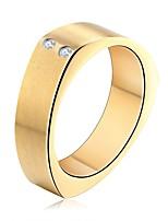 Недорогие -Муж. Жен. Классические кольца Цирконий На каждый день Мода Нержавеющая сталь Циркон Геометрической формы Бижутерия Свадьба Официальные
